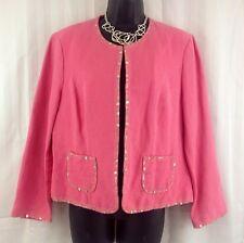 Sigrid Olsen Pink Sequin Linen Blend Embellished Blazer Jacket Size 10