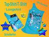 cooles modernes  T.-Shirt -Top -Longshirt m. Glitzermotiv seitlich gerrafft NEU