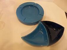 Vintage Haeger Pottery Navy & Turquoise Blue Art Deco Round Ashtray & Bowls