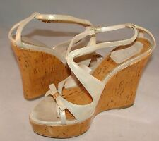 CHRISTIAN DIOR STARLET Nude Gold Beige Color Cork T-Strap WEDGE PLATFORM 37 Ita