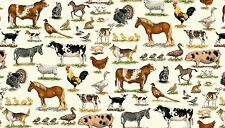 Farm Mixed Breeds Animals 100% Cotton  Fabric by Makower FQ 50cm x 55cm