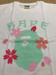 NWOT A BATHING APE BAPE CHERRY BLOSSOMS SAKURA XL WHITE T-SHIRT JAPAN EXCLUSIVE