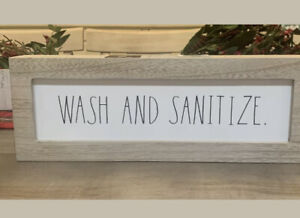 "NEW Rae Dunn WASH SANITIZE Wooden Sign Bathroom Kitchen 14""X5"" - White Black HTF"