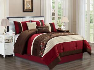 7-Pc Crawford Floral Blossom Vine Comforter Set Burgundy Red Beige Brown King