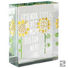 Spaceform Glass Token Friends Forever Sunflower Birthday Xmas Keepsake Gift 1916