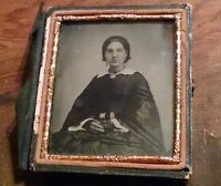 Civil War Woman Well Dressed Ambrotype Photo on Ruby Colored Glass 6th Plate -