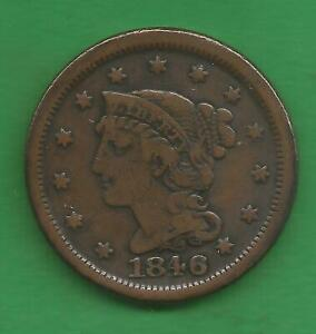 1846 BRAIDED HAIR LARGE CENT, SMALL DATE - 175 YEARS OLD!!!