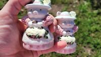 Vintage Set of Salt and Pepper Shakers Cats Kittens Garden Flowers Easter Aprons