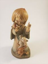 Anri Italy Girl with Rabbits And Birds Figurine As Is