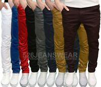 Enzo Mens Designer Branded Slim Fit Stretch Chino Jeans, Available in 8 Colours