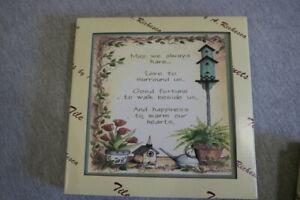 """NEW A. Richesca Cork Backed Ceramic Tile Trivet 8"""" Libby Merk, Linda Grayson"""