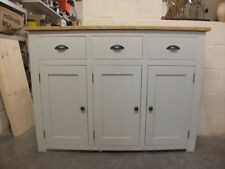 SHABBY CHIC PAINTED 3 DOOR NARROW SIDEBOARD ROUGH SAWN RUSTIC BESPOKE PARMA GRAY