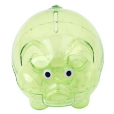 Green Clear Glass Piggy Bank Coin Money Cash Collectible Saving Box Kids Gift