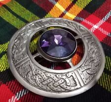 """Scottish Fly Plaid Brooch Antique Finish Purple Stone Ladies Celtic Brooches 3"""""""