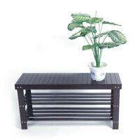 3 Tier Solid Wood Shoe Rack Bench Storage Seat Organizer Shelf Entryway  Home