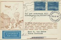 SWEDEN 1946 superb rare domestic Parachute First Post Flight STOCKHOLM - HUSARÖ
