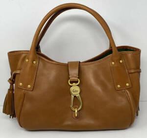 Dooney & Bourke Florentine Leather Medium Logo Lock Satchel ~ Natural