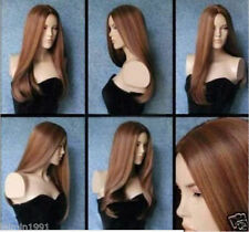 NEW80 fancy long light brown mix lady's straight hair wigs for women wig