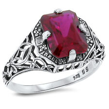 3 Ct Lab Ruby Antique Art Deco Design .925 Sterling Silver Ring Size 10,#152