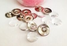 10 Supports Boutons pressions chunk et 20 cabochons en verre 16mm ++++++++