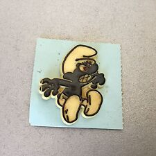 Vintage 1980 # SMURFS Official Peyo Pin  Spilla Plastica PUFFO NERO BLACK SMURF