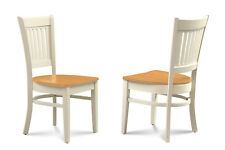 SET OF 4 DINING KITCHEN SIDE CHAIRS w/ WOOD SEATS IN TWO TONE FINISH