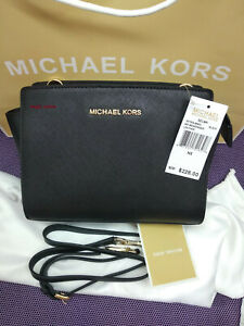 NWT Genuine Michael Kors Selma Medium Messenger Crossbody Bag BLACK