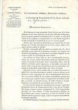 1820. Militaria. Gardes Nationales du Raume. Paris.  La Française. Document+++