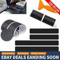 Car Black Carbon Fiber Scuff Plate Door Sill Cover Panel Step Protector Guard 4x