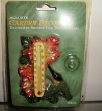 Acurite Garden Decor Suction Cup Thermometer Resin Hummingbird Decorative Flower