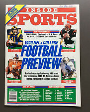 INSIDE SPORTS 1990 NFL & COLLEGE FOOTBALL PREVIEW Guide Magazine VG Condition