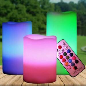 3 LED Flameless Wax Candles with Remote Control 3'' 4.5'' 6'' Flickering Candles