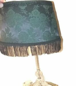 Victorian Style Oval Lamp Shade Green Satin Lined W/ Black Fringe & Lace