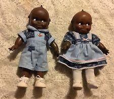 2) 1992 Jesco African American Kewpie Doll Boy & Girl W/Authenticity