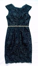 JS Collections Black Lace Silver Embroidered Dress - Size 32 (UK 6-8 approx)