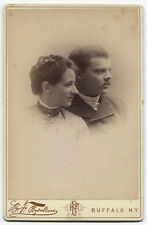 CABINET CARD LOVELY COUPLE PROFILE POSE. WHAT ARE THEY LOOKING AT? BUFFALO, N.Y.
