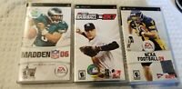 Lot of 3 PSP Sports Games - MLB 2K7 - NCAA FOOTBALL 09 - MADDEN 06