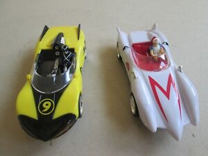 Carrera Go 1/43 slot car x2 Speed Racer both run well w/ lights! Suit Scalextric