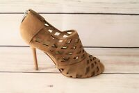 urban soul Brand Taupe Suede Leather Cut-Out Peep Toe Heels Size 38 NEW