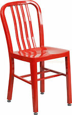 MID-CENTURY RED 'NAVY' STYLE DINING CHAIR CAFE PATIO RESTAURANT IN-OUTDOOR
