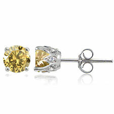 Sterling Silver Citrine and White Topaz Crown Stud Earrings