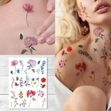 Supperb Temporary Tattoos - Watercolor Handrawn painted flowers floral Tattoos