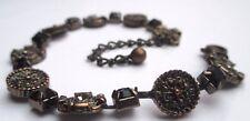 bracelet couleur bronze cristaux noir facette diamant maillon rond relief 2550