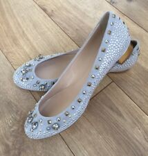 New JCrew Collection Janey Crystal and Stud Flats Grey Suede Shoes Sz 9 02049