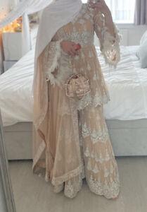 Pakistani Indian Asian wedding Party Dress Small. Sharara Style. Heavy Embellish