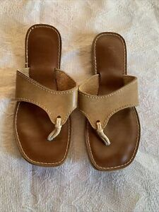 Tan leather kino Flipflops Made In Keywest Florida Size 10 minimal wear