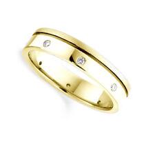 3mm 18ct YELLOW GOLD DIAMOND SET FLAT WEDDING RING BAND OFFSET GROOVE HEAVY