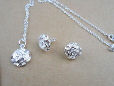 925 sterling silver plated jewelry Rose flower necklace pendant earrings Sets