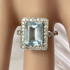 GENUINE DIAMOND AQUAMARINE DRESS RING HALO CLUSTER 18CT GOLD VALUATION $7,330