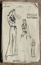 VTG 1945 VOGUE Sewing Dress Pattern 8994 Negligee Night Gown 40's Glamour Size M